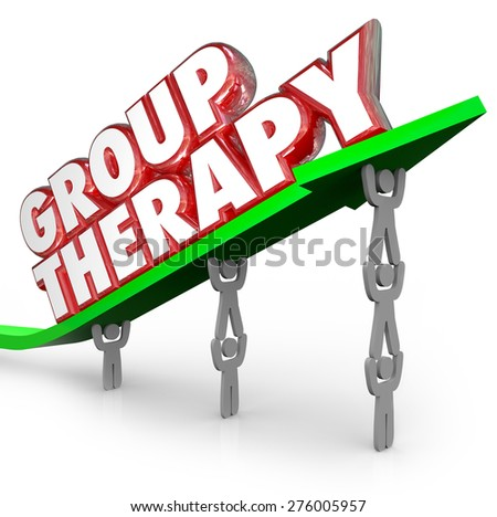 Group Therapy words in red 3d letters on a green arrow lifted by people or patients sharing feelings and discussing treatment and ways to get better - stock photo