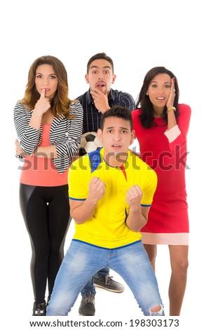 group watching football match anxious - stock photo