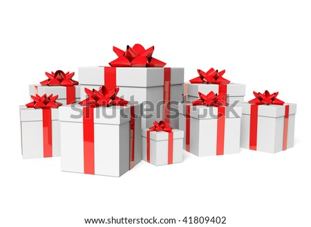 Group white gifts - stock photo