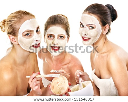Group woman getting facial mask and gossip . Isolated. - stock photo