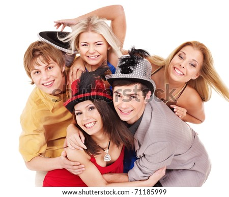 Group young people in party hat. Isolated - stock photo
