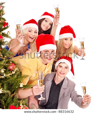 Group young people in santa hat drink champagne. - stock photo