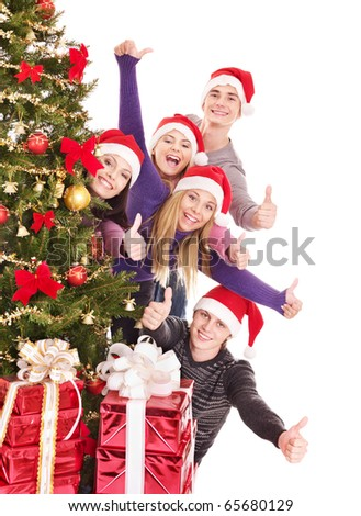 Group young people in santa hat drinking champagne. - stock photo