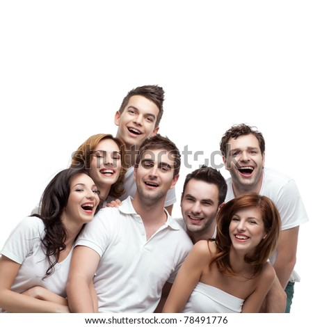 group young people sitting down laughing - stock photo