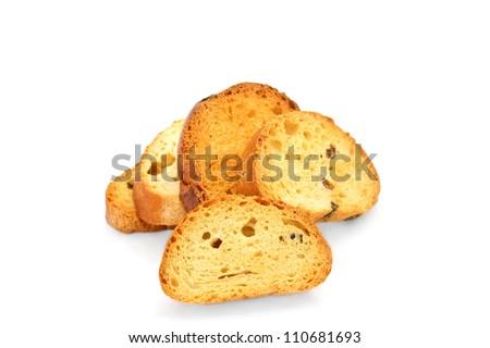 Groupe of appetizing zwieback isolated on white background - stock photo
