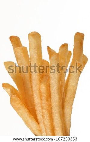 grouping of french fries isolated on white background - stock photo
