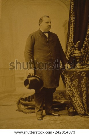 Grover Cleveland (1837-1908),was the only Democrat elected to the Presidency in the era of Republican political domination that lasted from 1860 to 1912. 1889 portrait. - stock photo