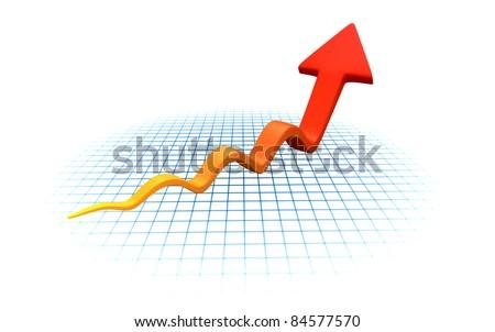 Growing Arrow Chart - stock photo
