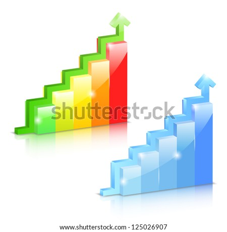 Growing bar graphs with arrow - stock photo