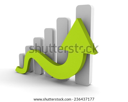 growing business graph with rising arrow. 3d render illustration - stock photo
