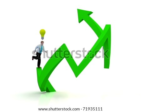Growing business graph with running businessman. Idea concept. - stock photo