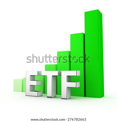 Growing green bar graph of ETF on white. Financial funds growth concept. - stock photo