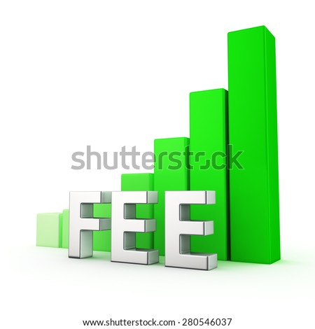 Growing green bar graph of Fee on white. You can easy change color of graph - stock photo