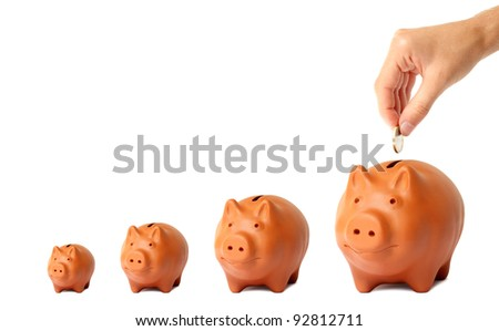 Growing Investment Piggy Bank - stock photo