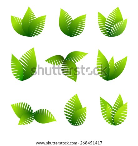 Growing Leafs Symbols - Green concept using leafs - Raster Version - stock photo