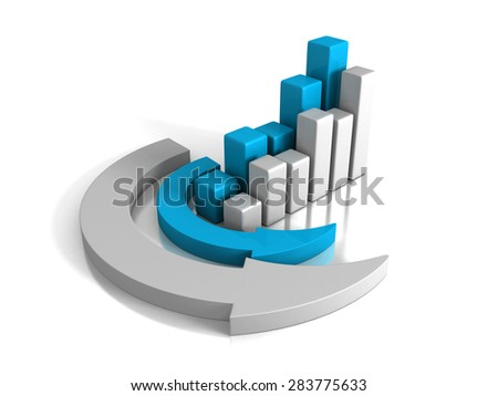 Growing Uf Finance Bar Chart Diagram With Arrow Around. 3d Render Illustration - stock photo