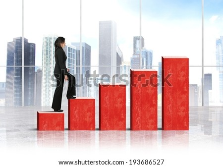 Growth and success concept with growing statistics - stock photo