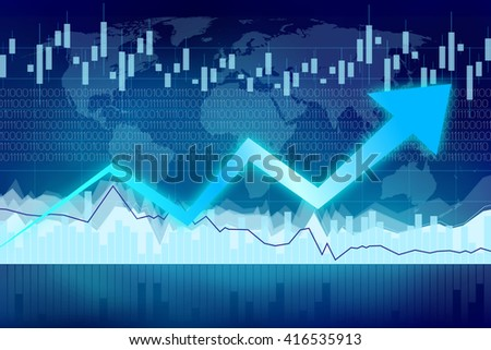 Growth chart - great for topics like finance, making money, stock, trade, economy etc. - stock photo