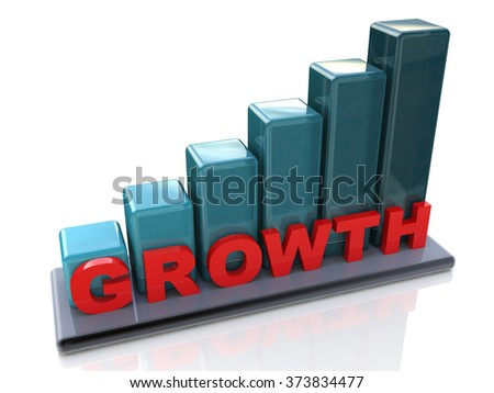 Growth chart, growing business graph on a white background in the design of information related to the increasing abstraction - stock photo