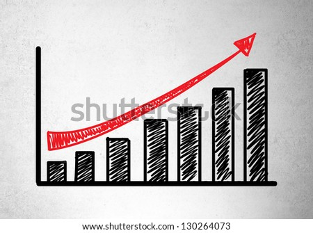 growth chart on concrete wall - stock photo