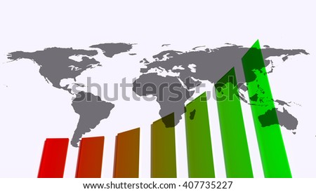 Growth chart with earth map, 3d illustration - stock photo