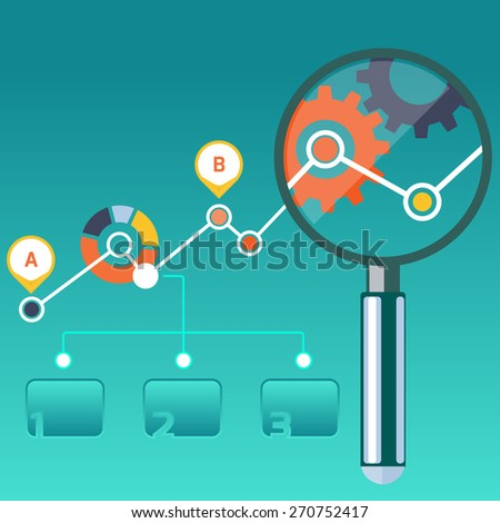 Growth chart with magnifying glass focusing on point. Infographic steps banners. Representing success and financial growth. Graphical analysis in flat design style. Raster version - stock photo