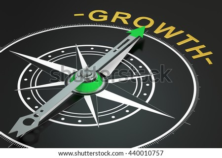 Growth compass concept, 3D rendering - stock photo
