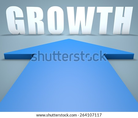 Growth - 3d render concept of blue arrow pointing to text. - stock photo
