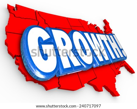 Growth 3d Word on a red United States of America map to illustrate increase or improvement in education, productivity, immigration, inflation, employment or other measurement - stock photo
