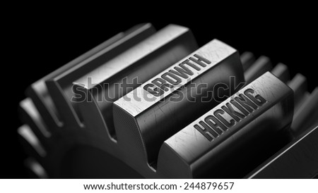 Growth Hacking on the Metal Gears on Black Background.  - stock photo