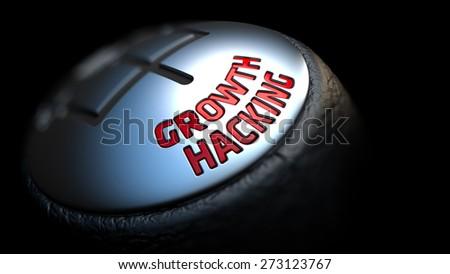 Growth Hacking. Shift Knob with Red Text on Black Background. Close Up View. Selective Focus. 3D Render. - stock photo