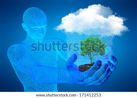 Growth investing and financial business success in the form of a 3d man and green tree, which sheds digital rain from the cloud - stock photo