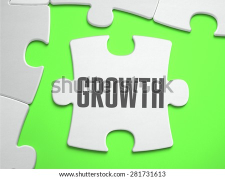 Growth - Jigsaw Puzzle with Missing Pieces. Bright Green Background. Close-up. 3d Illustration. - stock photo