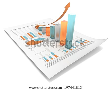 Growth. Multi Color edition. Abstract financial document with 3d graph of frosted glass.  - stock photo