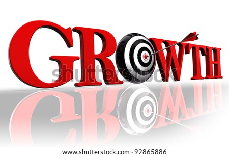 growth red word and conceptual target with arrow on white background - stock photo