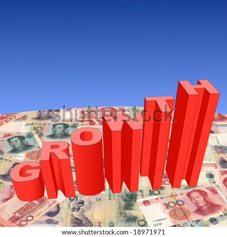 growth text graph on Chinese Yuan illustration - stock photo