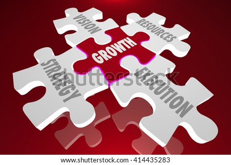Growth Vision Strategy Execution Puzzle Pieces Words 3d Illustration - stock photo