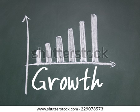 growth word and chart sign on blackboard - stock photo