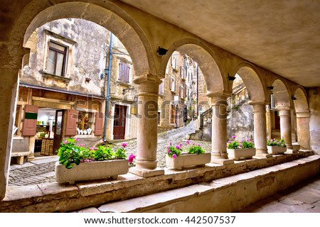 Groznjan town lodge and old architecture, Istria, Croatia - stock photo