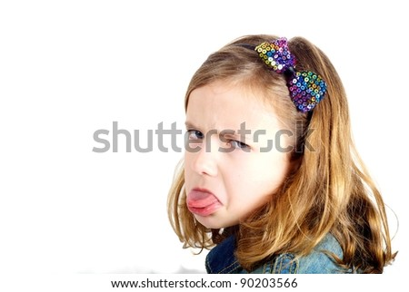 Grumpy girl on white background - stock photo