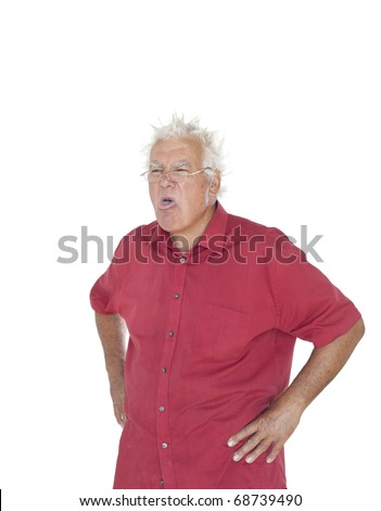 Grumpy old man, complaining about the price??!! - stock photo