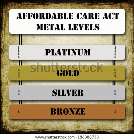 Grunge ACA or Affordable Care Act Metal Levels on signs including Platinum, Gold, Silver, and Bronze along with dollars signs for each level. - stock photo