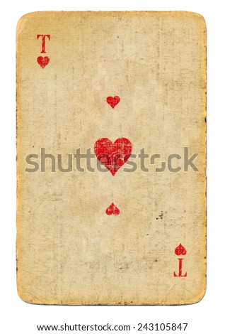 Grunge ace of hearts playing card paper isolated on white background  - stock photo