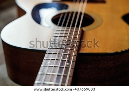 grunge acoustic guitar - stock photo
