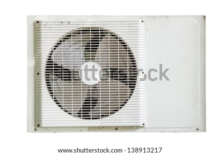 grunge Air condition condenser unit isolated on white - stock photo