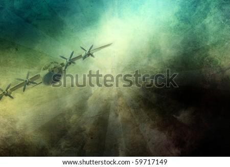 Grunge aircraft military plane background - stock photo