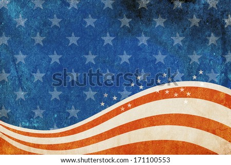 Grunge American flag background with room for copy space. - stock photo