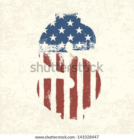 Grunge american flag themed dollar sign. Raster version, vector file available in my portfolio. - stock photo