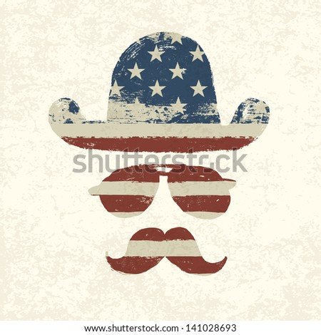 Grunge american flag themed retro fun elements. Raster version, vector file available in my portfolio. - stock photo