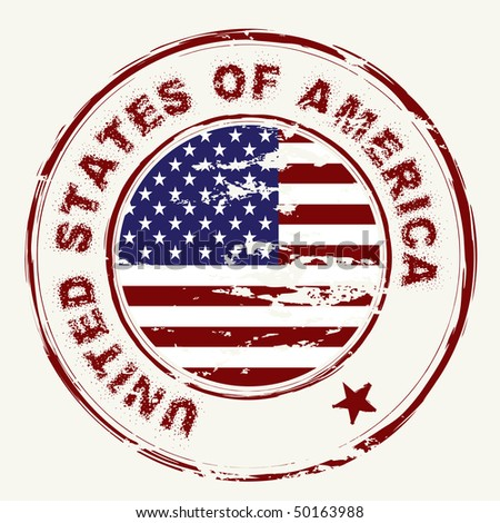 grunge american flag with rubber stamp and worn effect - stock photo